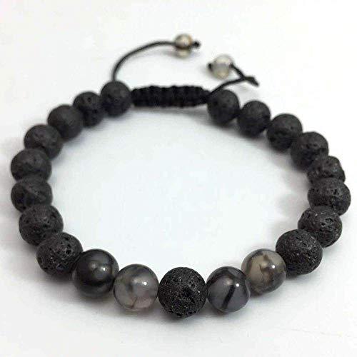 Natuurlijke stenen armband, natuursteen kralen armband mode yoga energie armband 8 mm mat vulkanische steen draak patroon armband geweven armband gepersonaliseerde kleding accessoires sieraden gift