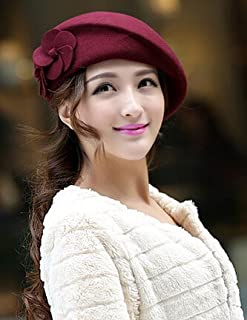 toptens 100% Wool Felt Elegant Women Ladies Autumn Winter French Style Beret Beanie Warm Pillbox Hat Tam Cap(Burgundy)