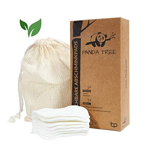 PandaTree® Cuscinetti di cotone biologico lavabili, tamponi di cotone riutilizzabili, con sacchetto per la pulizia, in bambù e cotone biologico, 20 detergenti sostenibili ed ecologici
