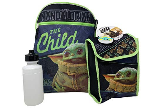 Fast Forward 5 Items Deluxe Star Wars The Child  Baby Yoda 16  Backpack 5pc Set with Lunch Kit, black, large