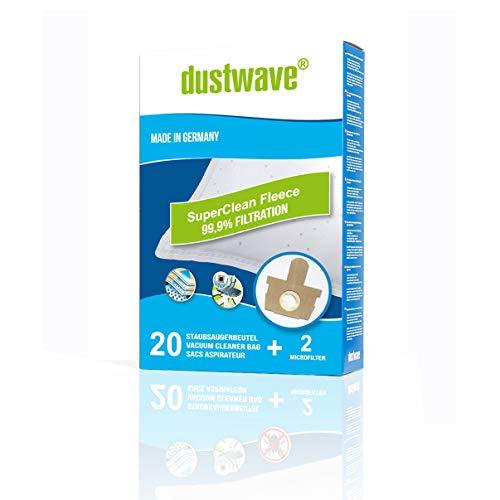 dustwave - 20 bolsas de aspiradora premium para Moulinex - CER 3. Manea - Serie / fieltro extragrueso para alérgicos - Fabricado en Alemania + microfiltro