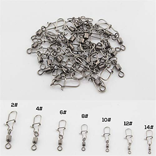100 Stück Fishing Barrel Bearing Rolling Swivel Solid Ring Lures Connector