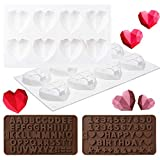 GROBRO7 Pack of 3 Silicone HeartDiamondMolds HAPPY BIRTHDAY Uppercase Letters Number Punctuation Tray for Baking Chocolate Cookies Ice Cream Fondant Soap Wedding Engagement Valentine's Day Cake