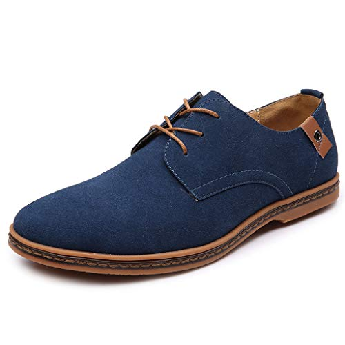 riou Zapatos Casuales de Hombre con Cordones Zapatos de Negocios Zapatos Oxford Moda Cuero Sólido Sneakers Negro Azul Gris Blanco 38-44