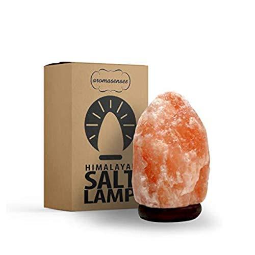 AROMASENSES Lámpara de Sal del Himalaya (1-2 kg) con Base de Madera, Cable y Bombilla - Natural 100% - Hecha a Mano.