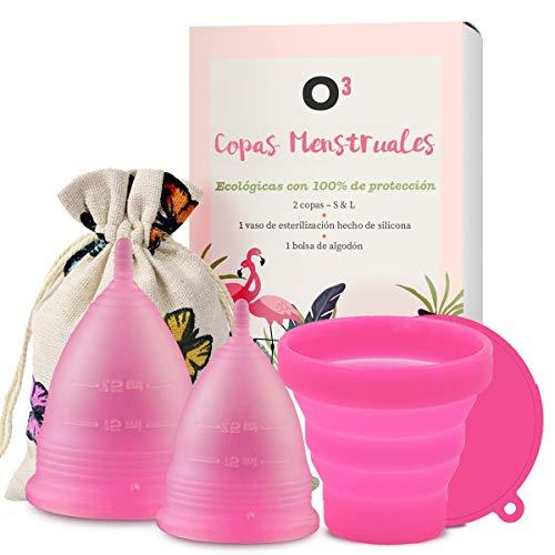 O³ Copa Menstrual Ecológica 2 Unidades - S & L - Con Esterilizador Copa Menstrual - Entrega RÁPIDA desde España - Copas Menstruales Con Bolsa de Almacenamiento