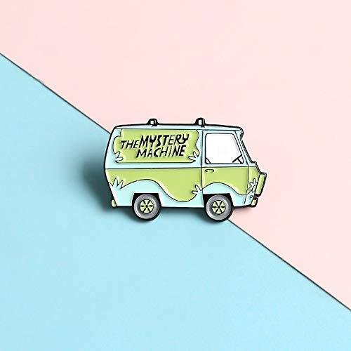 QISKAII Green Mini Bus Pins MYSTERY MACHINE Lapel Enamel Pins Cartoon Cute...