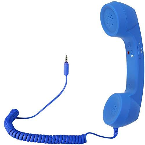 Retro Handset, Cell Phone Handset Anti Radiation 3.5mm Mini Microphone Speaker for iPhone iPad,Mobile Phones,Computer Blue