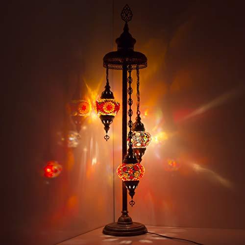 Lámpara otomana de fantasía hecha a mano turca marroquí árabe oriental bohemio estilo Tiffany de cristal mosaico colorido lámpara de pie lámparas decoración del hogar