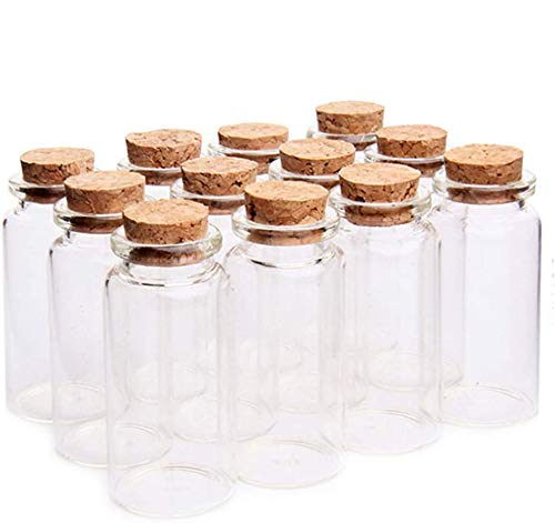 18 Stück 10ml Mini Glasflaschen Probe Gläser mit Korken, 10ml Leere Probe Glasflasche Gläser,Mini Fläschchen mit Korken für DIY Dekoration, Düfte
