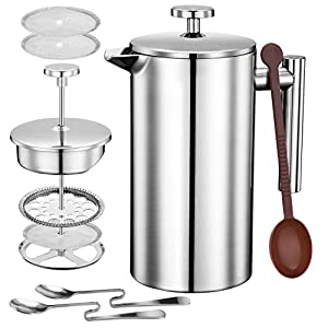 Topelek 1000ML Cafetiere French Press Coffee Maker, Double Wall Tea Maker with Stainless steel, Measure Scoop, 2 Filter Screen for home and office