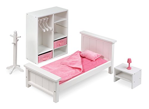 Badger Basket 13 Piece Bedroom Furniture Play Set for 18 Inch (fits American Girl Dolls), White/Pink