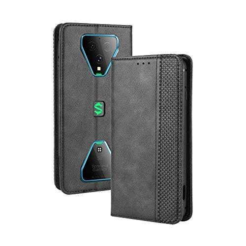 LAGUI Kompatible für Xiaomi Black Shark 3 Hülle, Leder Flip Hülle Schutzhülle für Handy mit Kartenfach Stand & Magnet Funktion als Brieftasche, schwarz