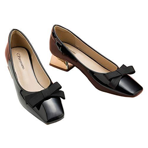 C.PARAVANO Ballerinas damskie I czółenka czerwone I buty lakierowane damskie I czółenka I baleriny zamknięte I kwadratowe i koronkowe palce płaskie pantofle I lakierowana skóra z kokardą baleriny buty damskie, czarny - czarny - 40 EU