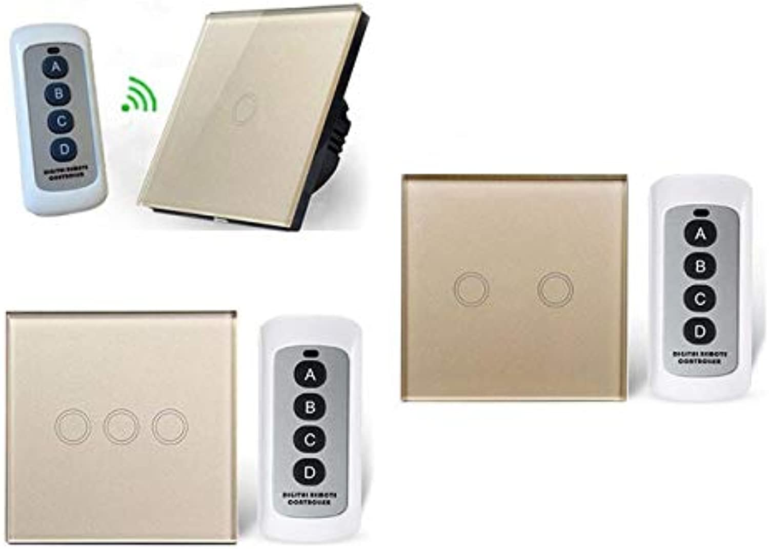 Wall Light Touch Screen Switch EU UK Standard Touch Switch,Remote Control Wall Touch Switch, White, Black, golden, AC170250V  (color  gold with RC2, Number of Gangs  1Gang)