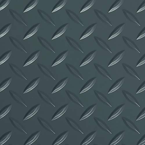 "G-Floor Lite 7'6"" x 14' Diamond Tread Rollout Garage Flooring in Slate Grey"