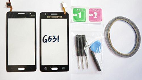 JRLinco Para Samsung Galaxy Grand Prime VE SM-G531G531F Pantalla de Cristal Táctil, Pieza de Recambio touchscreen glass display(Sin LCD) Para Negro + Herramientas y Adhesivo de Doble Cara