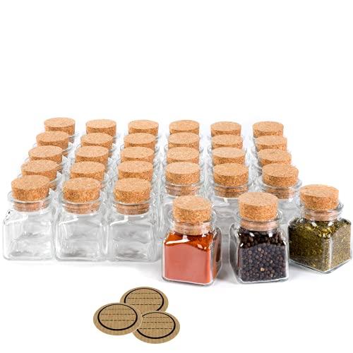 30 Stück kleine Gewürzgläser mit Korken, 100ml, 8cm hoch, Gewürzdosen aus Glas, Vorratsgläser