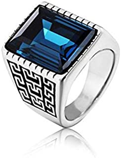 Men's ring blue gem titanium steel vintage style