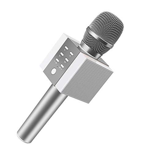 SPARKX Micrófono Inalámbrico De Karaoke Bluetooth, 10W Más Potencia, Mayores De Bajos, Altavoz Portátil De Tres En Uno Dobleta De Doble Cuerno,Plata