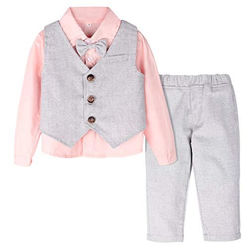 mintgreen Traje Niño Conjunto Gentleman Bebé Camisa Rosa Chaleco Boda, Rosado, 18-24 Meses (Tamaño del Fabricante: 90)
