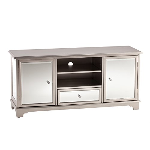 SEI Furniture Mirage Mirrored TV & Media Stand - Mirror Surface w/Faux Crystal Knobs - Glam Style