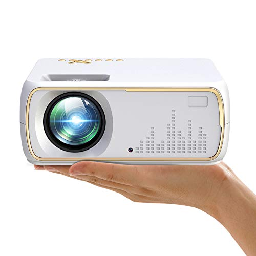 iLIMPID Mini Portable Projector, Full HD 1080P /120 Display Support Portable Film Projector, 40,000 Hours LED Light Life Compatible with HDMI, VGA, AV, USB and Headphone Output (Basic Version, White)