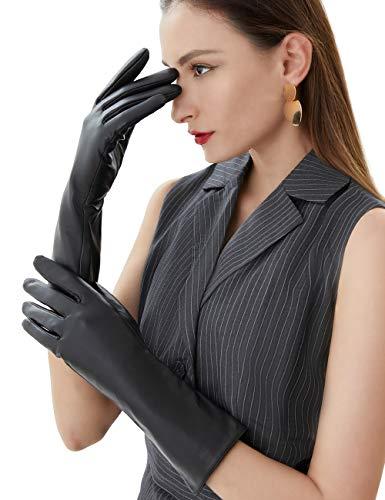 """Vikideer Long Genuine Leather Gloves for Women Full Touchscreen Winter Warm Lined Elegant Type Little Big Black Meduim-12.7"""""""