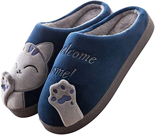 JACKSHIBO Herren Hausschuhe, Warme Plüsch Hausschuhe Indoor rutschfeste Slippers Cartoon Cat Pantoffeln Für Damen, Blau, 42/43 EU