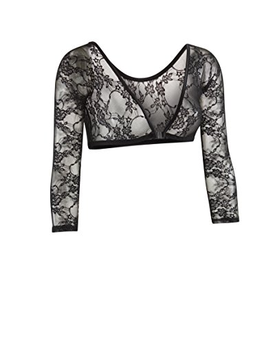 Sleevey Wonders Women's Basic 3/4 Length Slip-on Lace Sleeves M Black