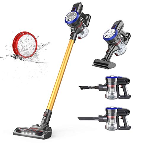 Bester der welt 4 in 1 Cordless Vacuum Cleaner, 12000 Pa, Powerful, 2 Suction Level, 45 Minutes, Lightweight, Long Life, Wall Mount, Hard Floor Mat, Car, Dibea D18 Gold