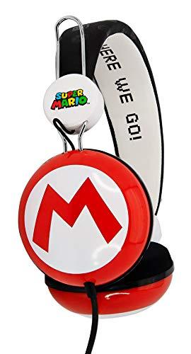 OTL Technologies Super Mario Icon Core - Auriculares de Diadema para niños (Diadema Acolchada, Volumen Limitado a 85 dB, diseño Colorido, Mixto), Color Rojo y Blanco