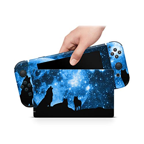 ZOOMHITSKINS Blue Sky Moon Wolf Pack Black Animals Stars Planets Solar High Quality 3M Vinyl Decal Sticker Wrap, Bubble-free Install, Goo-free Removal, Nintendo Switch Compatible, Made in the USA