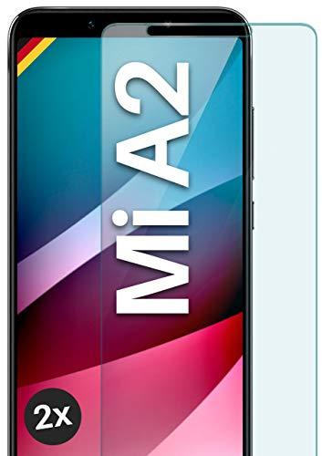 moex Panzerglas kompatibel mit Xiaomi Mi A2 - Schutzfolie aus Glas, bruchsichere Displayschutz Folie, Crystal Clear Panzerglasfolie, 2X Stück