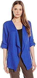 Chaus Women's Three Quarter Sleeve Roll Tab Drape Front Linen Jacket