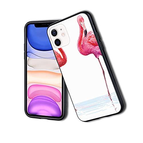 Fundas protectoras híbridas de lujo a prueba de golpes, dos flamencos dibujados a mano en colores rosados en el mar, arte tropical de la vida silvestre del mar, adecuado para el iPhone 11Pro Max