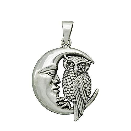 0wl Goddes Moon Crescent Silver Pendant Celtic Wicca Pagan Amulet Owl Athena Wisdom Greec Goddes Necklace 7 g Sterling Silver Beldiamo