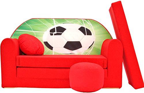 Pro Cosmo Sofá Cama Infantil D3 con Puff/reposapiés/Almohada, de Tela, Color Rojo, 168x 98x 60cm