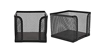 Mind Reader POSTME2-BLK 2 Pack Memo Metal Mesh Sticky Holder Designed to Work with Post-It Pop-Up Notes Office 4 in x 4 in Black