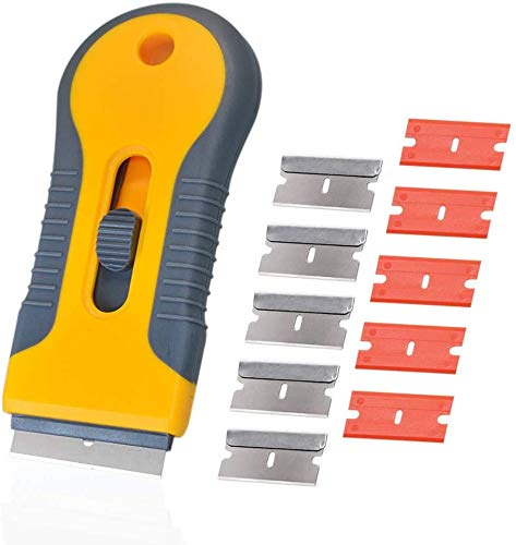 Mini Retractable Hob Scraper Knife,Labels Decals Sticker Removal Scraper Tool with 10Pcs Extra Blades for Scraping Labels, Decals, Stickers, Caulk, Paint from Glass, Stovetop, Subfloor (Yellow)