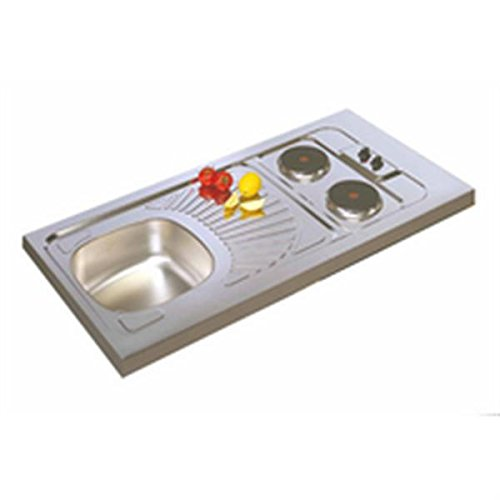 Moderna - Evier cuisinette inox 18-10 lisse a poser avec 2 plaques electriques integrees 120x60x5 cm 1 cuve Ref CPAE120A00