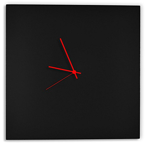 Modern black clock 'blackout red square clock' minimalist metal wall clocks, contemporary decor - 16in. Black w/red hands