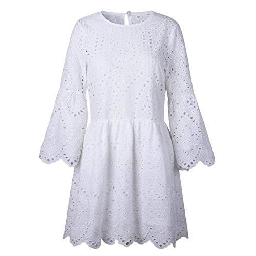 Kai & Guo Sommerkleid mit Rundhalsausschnitt, Rüschen, halblange Ärmel, Spitze, locker, gerade, Baumwolle, Minikleider, legeres Kleid, weiße Kleider M Weiß