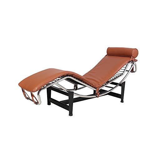 Sillón Reclinable Lounge, Estilo Le Corbusier LC-4 Replica Chaise Mid Century Modern Classic Cuero PU Y Estructura De Acero Inoxidable con Cuero Genuino De Primera Calidad