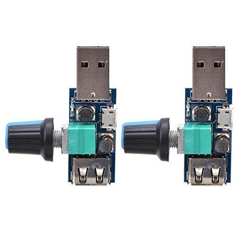 2 uds controlador de velocidad del ventilador interruptor controlador de velocidad del motor USB DC4~12V 5W módulo regulador de voltaje ajustable para oficina en casa