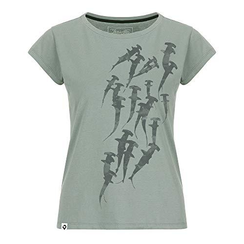 Lexi&Bö Damen T-Shirt Hammerhead Swarm in pink, blau oder grau für scubagirls und Taucher mit elegantem Hammerhai Print