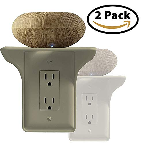Power Perch Single Wall Outlet Shelf. Home Wall Shelf Organizer for Outlets. Perfect for Bathroom, Kitchen, Bedrooms with Cord Management and Easy Installation. Almond 2-Pack