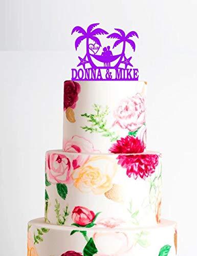 Bruiloftaarttopper met palmbomen en hangmattaarttopper met paar in hangmat strandbestemming bruiloft taarttopper met hangmatboom