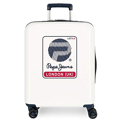 Maleta de cabina Pepe Jeans Luggage London Blanca rígida 55cm