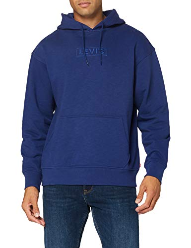 Levi's T2 Relaxd Graphic Hoodie Sudadera con Capucha, Relaxed BT Po FLA Gap Blue Print, L para Hombre